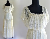 reserved / May 11 / 70s Ivory Lace Boho Hippie Ruffle Smocked Tiered Ethereal Wedding Gown Maxi Dress . XS . small . GT