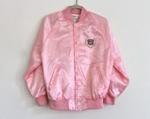 Reserved . Dec. 26 . 80s Satin Pink Embroidered Emblem Retro Nylon Windbreaker Casual Coat Jacket . XS . SM . GT