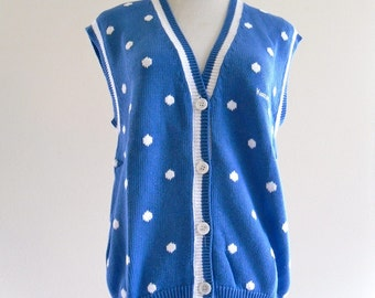 80s LaMoDe Blue PoLkaDot SweaTer VeSt Top Shirt Blouse . SM . medium . ML . D074 .