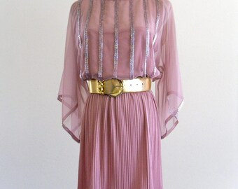 JaCk BrYaN bLuSh PinK SeQuin BeaDed sHeeR fLuTTeR pLeaTed Mini DreSs . SM . medium . ML . D026