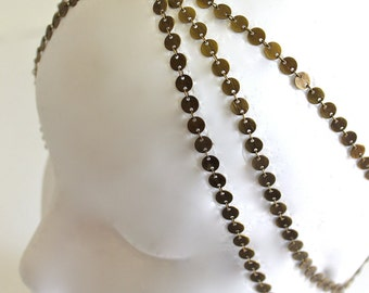 7 StRanD aNtiQue bRaSs BoHo HiPPie GypSy CoiN DiSc HeaD PieCe DreSs BaND  . One Size .