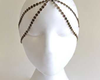 5 StRanD aNtiQue bRaSs BoHo HiPPie GypSy CoiN DiSc HeaD PieCe DreSs BaND  . One Size .
