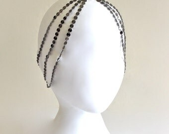7 StRanD GunMeTaL BoHo HiPPie GypSy CoiN DiSc HeaD PieCe DreSs BaND . One Size .