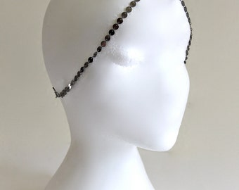 3 StRanD GunMeTaL BoHo HiPPie GypSy CoiN DiSc HeaD PieCe DreSs BaND . One Size .