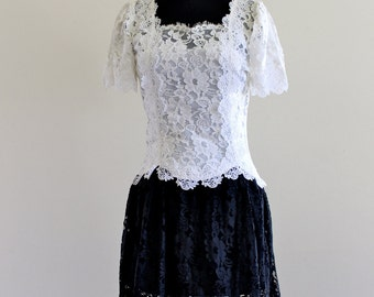 inDie CaChet bLack wHite SheeR LaCe GoTh SteaM punk BabyDoll Mini DreSs . XS . small . D162 .