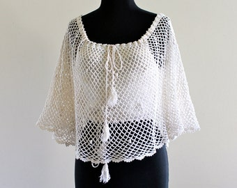 iVory BoHo Cotton CroCHet SheeR FluTTeR Hippie FestiVaL Cape BeachWeaR BatWing aNGeL bLouSe ToP ShiRt  . XS . small . SM . D210