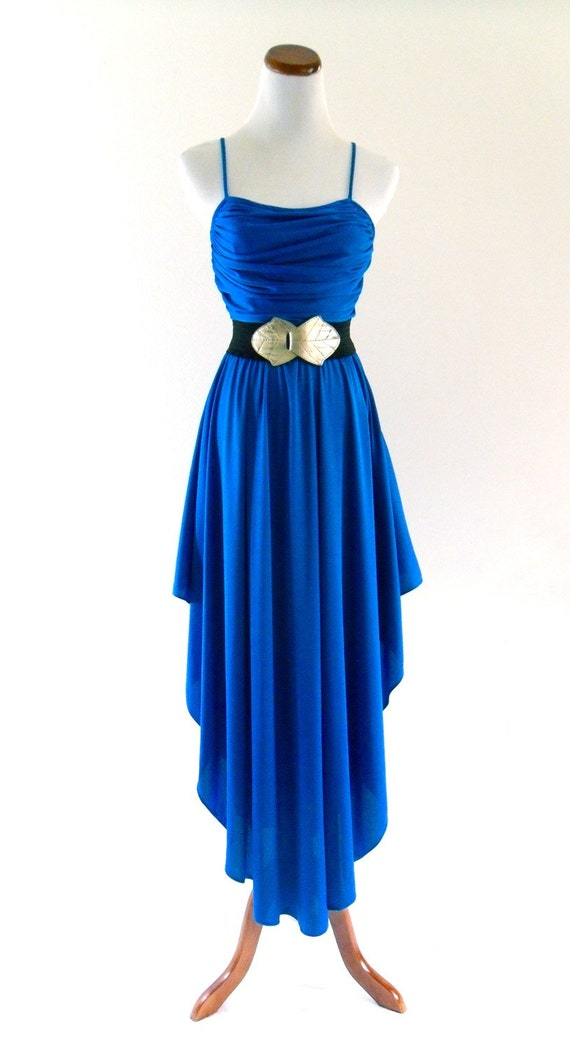reserved / Do not Buy / 70s Blue Shiny Pleated Draped Disco Glam Prom Wedding Gown Dress . XS . small . SM . D041