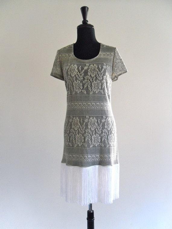 80s Metallic Sheer Lace Tunic FrinGe Mini Rocker Tunic Dress . OS . SML . D183 .
