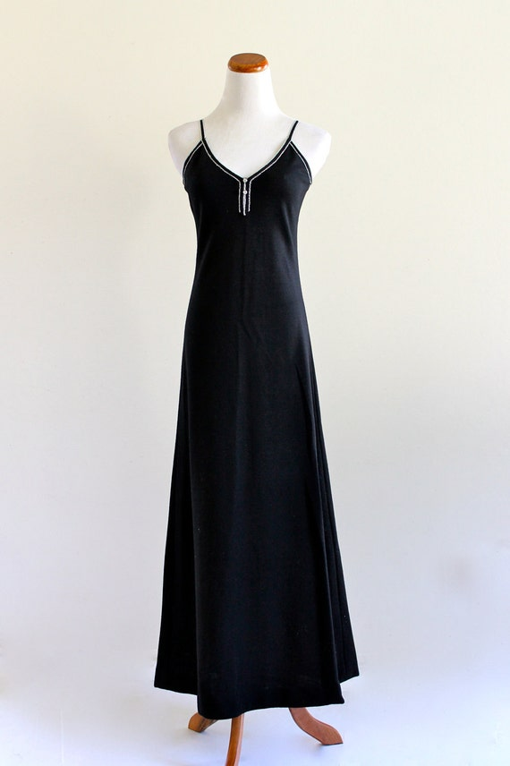 Mr. Boots Limited EdiTions BoHo GyPsy Hippie bLaCk Knit siLver MetaLLic Maxi DreSs . Xs . small . D204