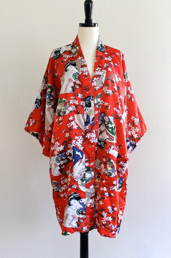 70s Red Ethnic Asian Japanese Kimono Robe Boho Hippie Loungewear . Free Size . D024