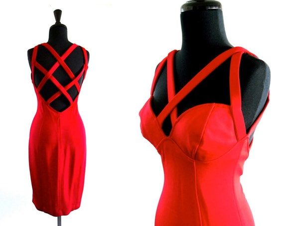 reserved // 80s Red Valentines Day Sexy Lady in RED Body Con Bandage Cage Dress . small . SM . medium . ML . D072 .