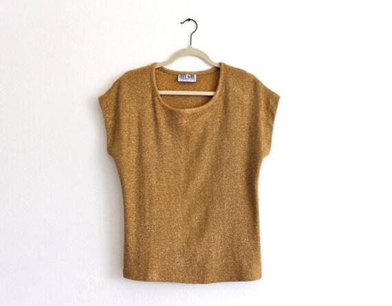 80s Gold Metallic New Wave Knit Slouch Batwing T Shirt Top Shirt Blouse . SML . D164
