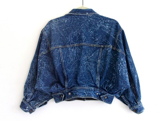 80s Blue Jean Cotton Acid Wash Batwing Slouchy Punk Indie New Wave Cropped Jacket . SM . medium . GT