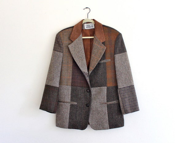 80s Patchwork Squares Suede Leather Collar Trim Hipster Sports Coat Jacket Mens Women's . hanger