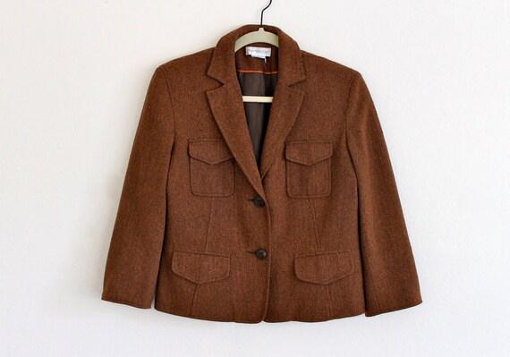80s Wool Secretary Fitted Cropped Sleeves Menswear Brown Hippie Boho Disco Blazer Jacket . SM . D077