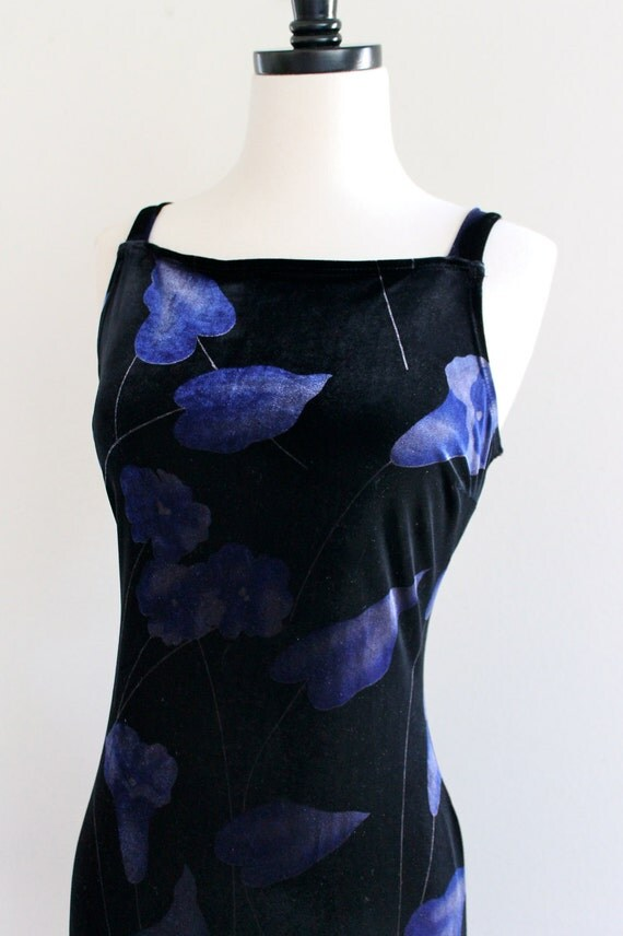 90s Black Stretch Velvet Strap Fitted Bandage Bodycon Goth Indie Punk Maxi Dress . SM . D211