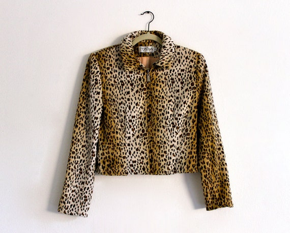 80s Leopard Fleece Taiga Paris Pin Up Rockabilly Retro Coat Jacket Blazer . S/M . shelf