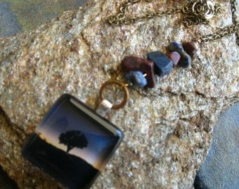 Joshua Tree Necklace,Glass Pendant and Natural Stones ,Joshua Tree in a Blue Sunset