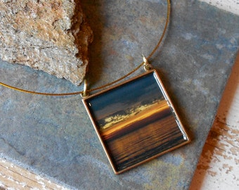 Sunset ,photo jewelry,  antiqued brass pendant on wire art necklace