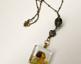 Sphinx Necklace, steampunk style ,  Glass pendant with original photo print,