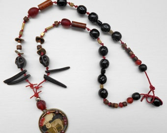 Animal Art Necklace, Beaded, Mythical Hybrid Creature Pendant, Tribal, Brass Red and Black,