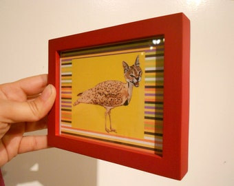 Animal Art, Mini Framed Picture, Quirky Catbird Hybrid