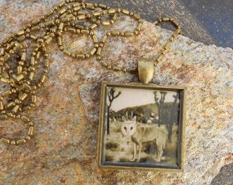 Joshua Tree Photo - Pendant Necklace - WolfOwl Hybrid in Joshua tree - Antique Brass - Sepia tone
