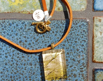 Joshua Tree necklace,  Rocks and Water, Glass tile and Suede cord