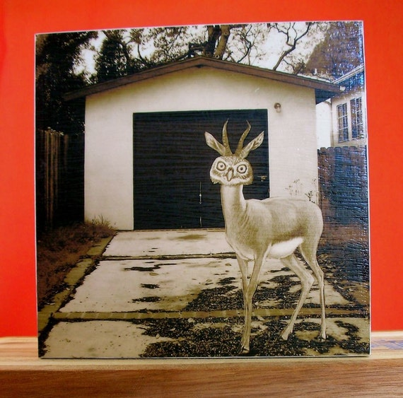 "Animal Art Print, Sepia Tone,5x5 Wood Block, ""Anybody Seen My Truck"""