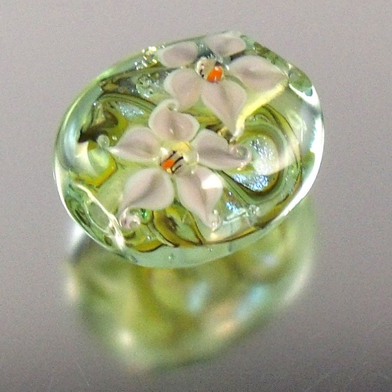 SALE  White Lily Dichroic Lampwork Focal Bead