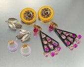 vintage 1960s earrings lot dangle nautical anchor gold silver hoops destash