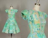 vintage 1960s dress pastel full skirt mint green cotton
