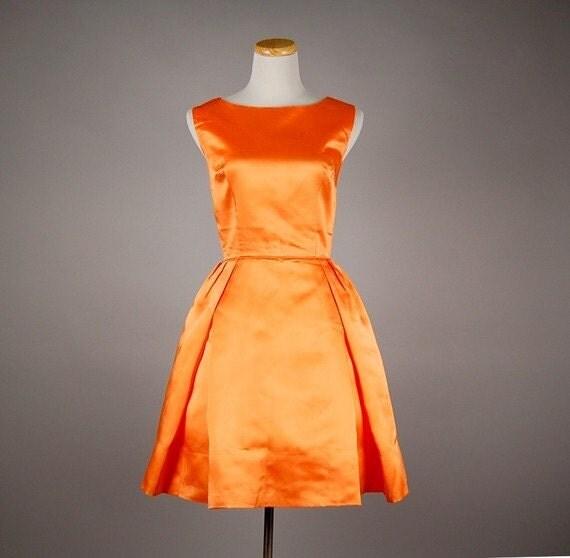 vintage 60s dress mini satin full skirt sorbet cocktail party