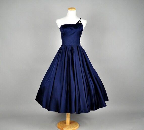 vintage 50s dress satin full skirt rhinestone brooch silk carlye