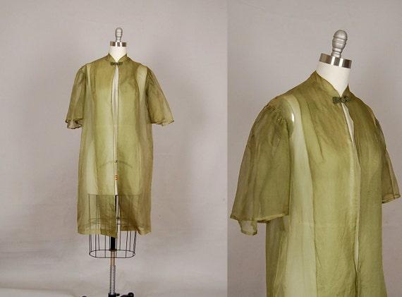 vintage 1930s dress coat silk organdy sheer capelet olive green
