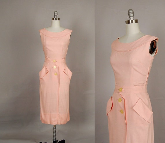vintage 1950s dress 50s dress wiggle linen carnation pink 2 piece set