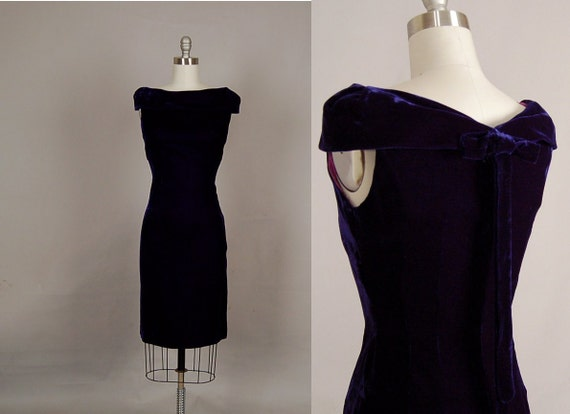 vintage 1950s dress 50s wiggle dress velvet royal blue off shoulder party