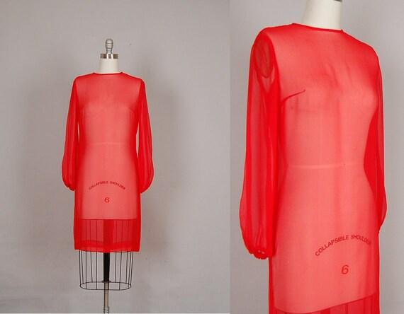 vintage 1960s dress 60s dress silk sheer lipstick red cocktail