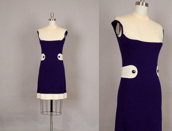 vintage 1960s dress 60s mini dress wool mod designer navy white
