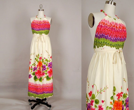 vintage 1960s dress 60s dress floral halter backless wrap designer hilo hattie magenta