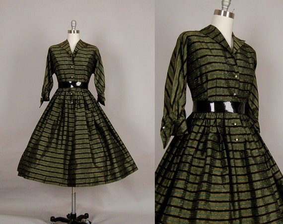 vintage 1950s dress 50s dress full skirt taffeta stripe olive green party