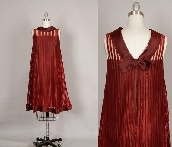 vintage 1960s dress 60s dress stripe sheer tent satin mod copper