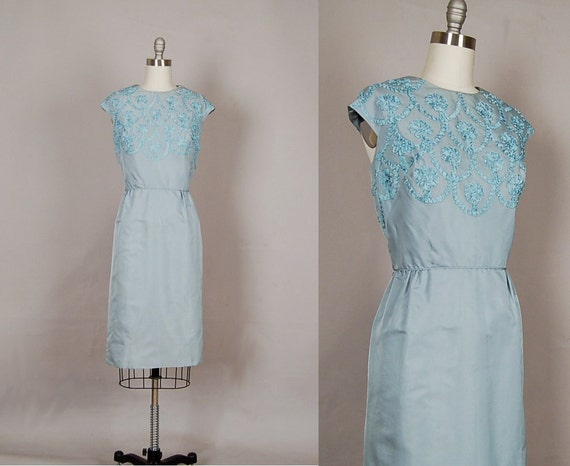 vintage 1950s dress 50s dress wiggle silk scalloped sapphire blue cocktail