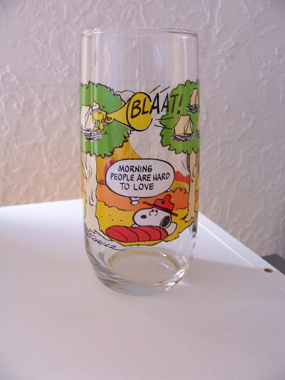 Vintage 80s Peanuts Camp Snoopy Drinking Glass McDonalds