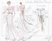 Wedding Gown Sketch, Your Custom Design with Fabric Suggestions