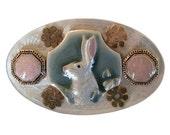 Tea Party Bunny Shell Brooch, Pin, Rabbit, Brooch, Vintage Style