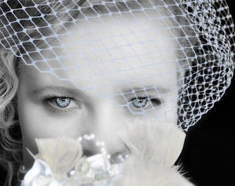 "Blue, Wedding, Bridal, Bird Cage, Veil, 9"" Inch, Retro, Silver Plated Comb, Lavender, Ivory, White, Custom, Ifanhour"