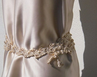 Sash Belt, Crocheted Sash, Crocheted Wrap Belt , Crocheted Belt, Ivory Belt ,Boho Belt, Wedding Belt, Bohemian Belt, Bohemian Sash