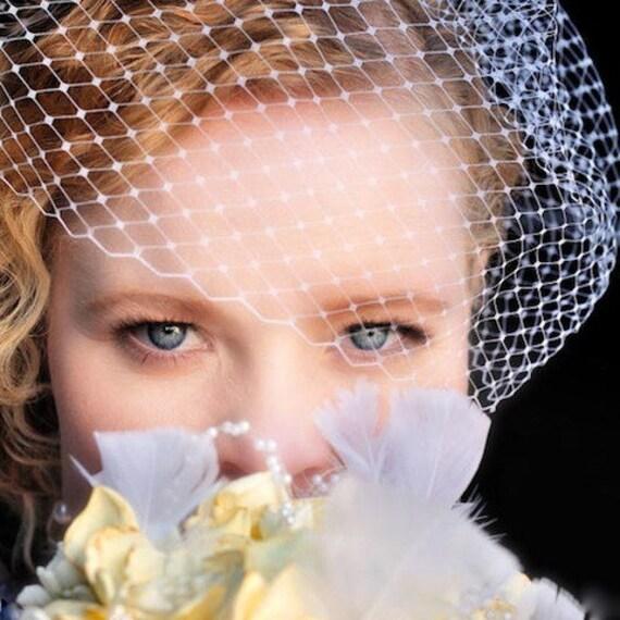 "Bird Cage Veil, Blusher Veil, Short Veil, Wedding Veil, Ivory Veil, Bridal Veil, 9"" Bird Cage Veil, Retro Veil, Made in the USA, Ifanhour"