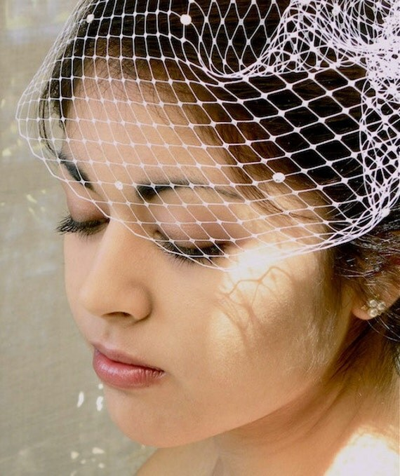 Rhinestone Birdcage Veil, Rhinestone Wedding Veil, Rhinestone Bridal Veil, Bird Cage Veil, Short Veil, Retro Veil, ifanhour, Made in USA
